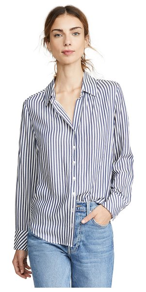 AYR the go to button down shirt in navy stripe