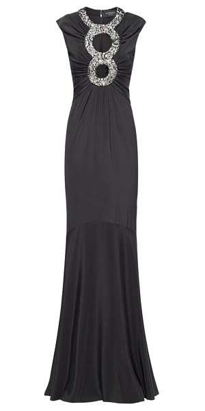 AZZARO Helen viscose crepe long dress in black