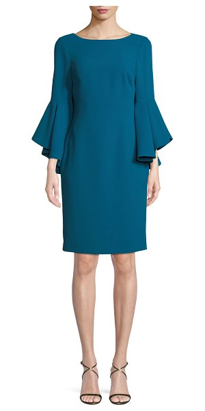 Badgley Mischka Collection Bateau-Neck Dress w/ Trumpet Sleeves in teal