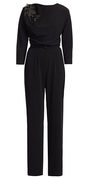 Badgley Mischka beaded jumpsuit in black