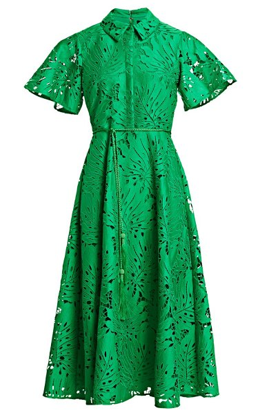 Badgley Mischka belted leaf lace dress in vine