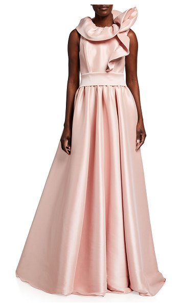 Badgley Mischka Collection Asymmetric Ruffle-Neck Ball Gown in peony