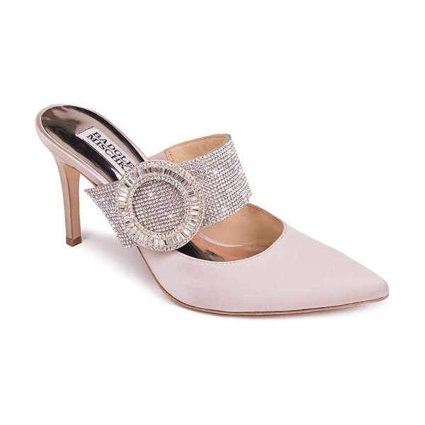 Badgley Mischka Collection badgley mischka ellie buckle pointy toe mule in nude satin