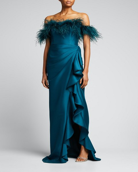 Badgley Mischka Collection Feather-Trim Off-Shoulder Ruffle Gown in teal