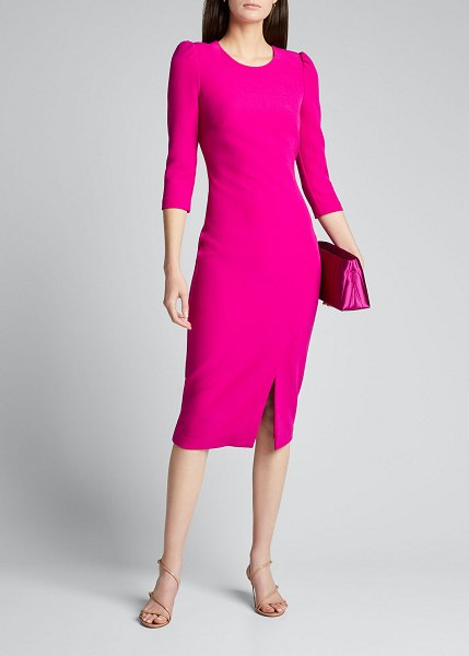 Badgley Mischka Collection Front-Slit Sheath Midi Dress in fuchsia
