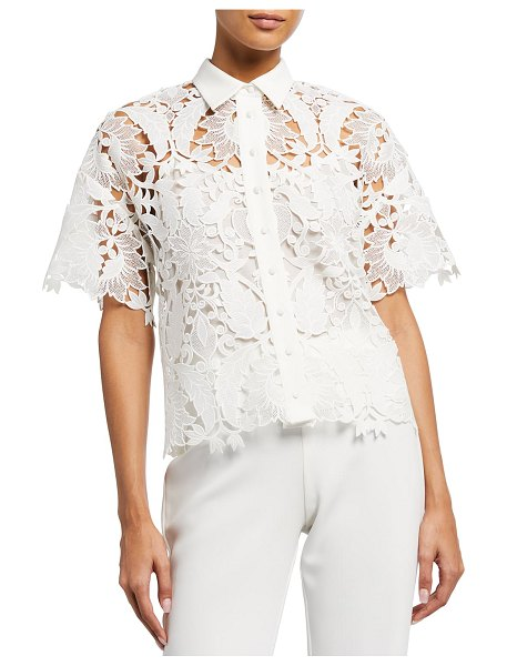 Badgley Mischka Collection Guipure Lace Collared Short-Sleeve Top in ivory