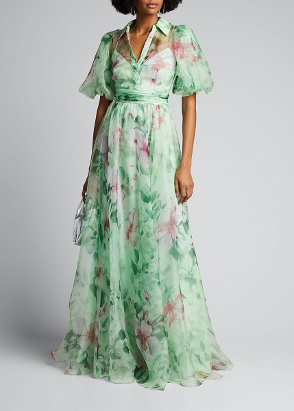 Badgley Mischka Collection Hibiscus Printed Organza Puff-Sleeve Gown in green pattern