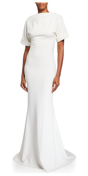 Badgley Mischka Collection High-Neck Low-Back Roll-Sleeve Crepe Mermaid Gown in ivory