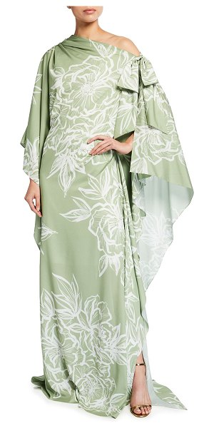 Badgley Mischka Collection Off-Shoulder Floral-Print Caftan Gown in green