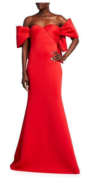 Badgley Mischka Collection Off-the-Shoulder Scuba Trumpet Gown in red