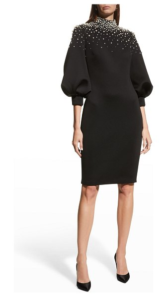 Badgley Mischka Collection Pearly Beaded Mock-Neck Balloon-Sleeve Dress in black/ivory