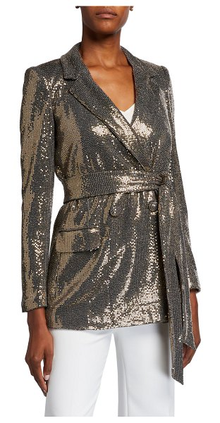 Badgley Mischka Collection Sequin Long-Sleeve Belted Smoking Jacket in gold