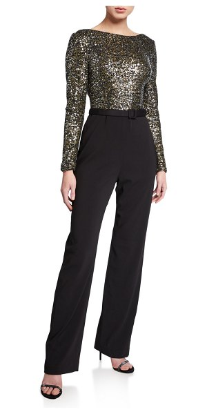 Badgley Mischka Collection Sequin Long-Sleeve Cowl-Back Belted Jumpsuit in black/gold