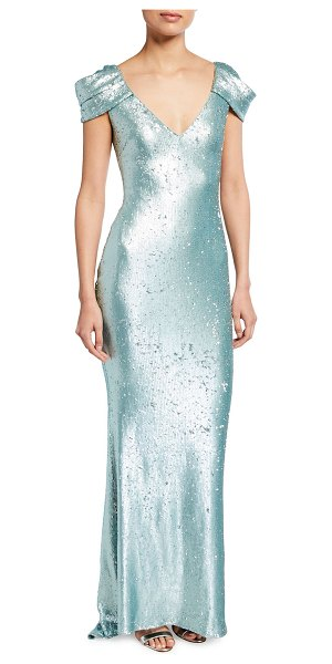 Badgley Mischka Collection Sequined Draped-Sleeve Gown in blue