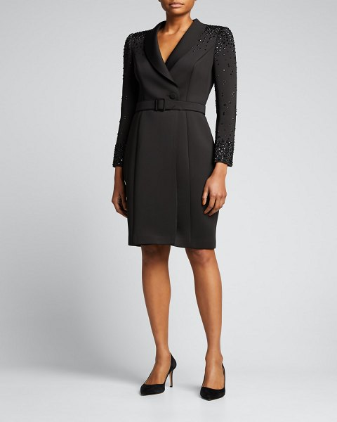 Badgley Mischka Collection Studded Coat Dress in black