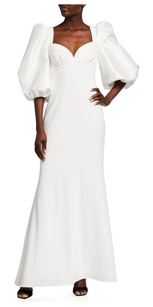 Badgley Mischka Collection Sweetheart Balloon-Sleeve Crepe Combo Gown in ivory