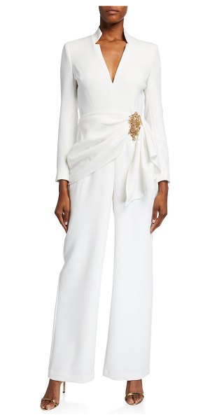 Badgley Mischka Collection V-Neck Long-Sleeve Drape Front Jumpsuit w/ Bead Embellishment in ivory