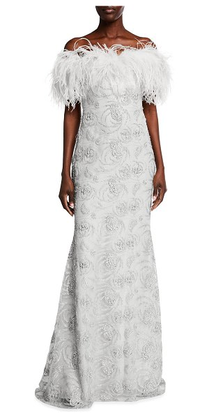 Badgley Mischka Couture Feather Off-the-Shoulder Beaded Gown in white