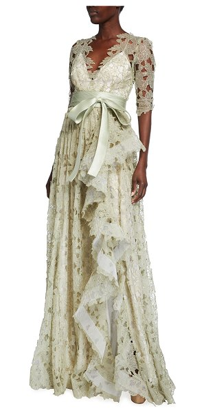 Badgley Mischka Couture Floral Organza Gown in green