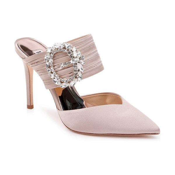 Badgley Mischka Collection badgley mischka crystal buckle mule in beige - A gorgeous crystal buckle crowns the channel-textured...