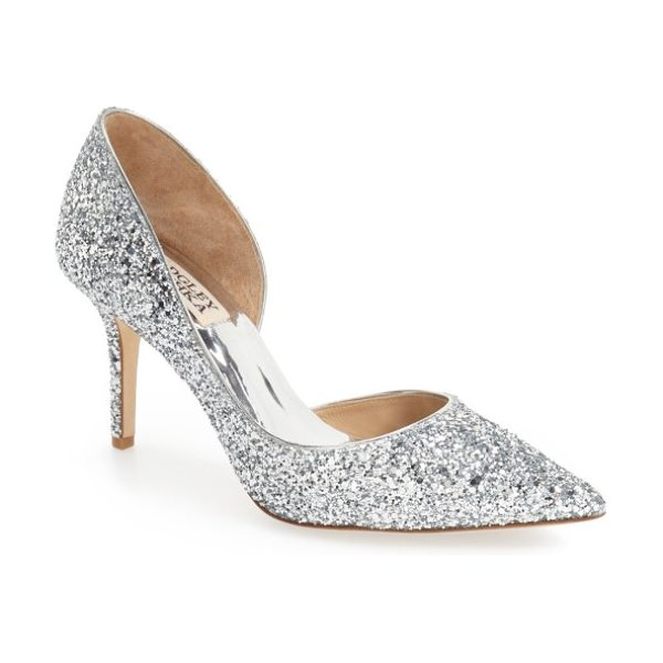 Badgley Mischka Collection daisy embellished pointed toe pump in silver glitter fabric