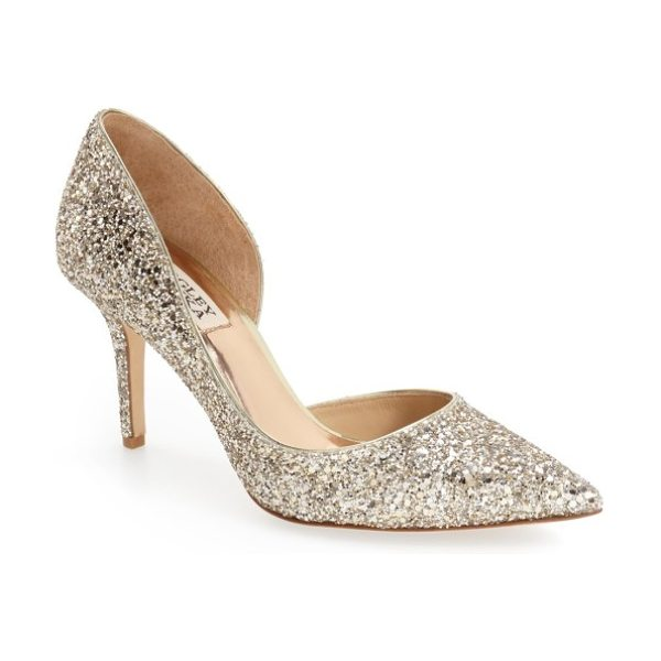 Badgley Mischka Collection daisy embellished pointed toe pump in platino glitter fabric