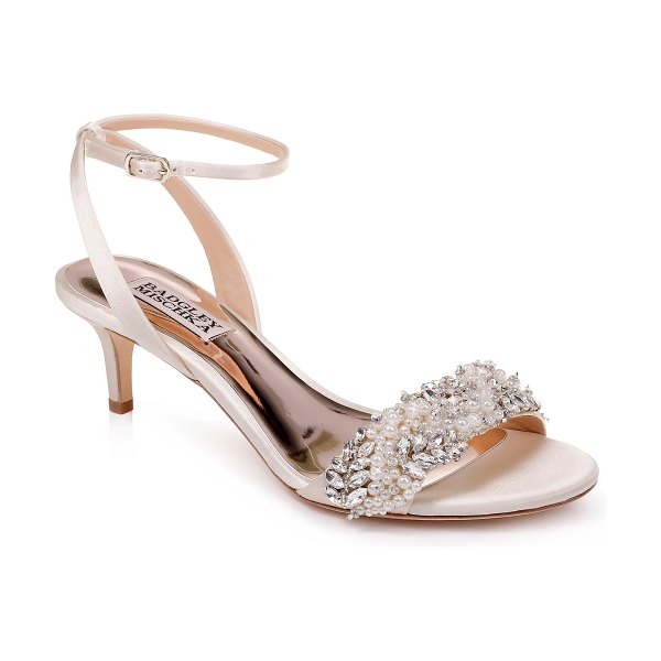 Badgley Mischka Collection badgley mischka fiona sandal in ivory satin - Faceted crystals and pearly beads dazzle on a pretty...