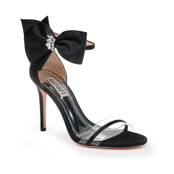 Badgley Mischka Collection badgley mischka fran bow ankle strap sandal in black - A crystal-embellished bow highlights the slim ankle...