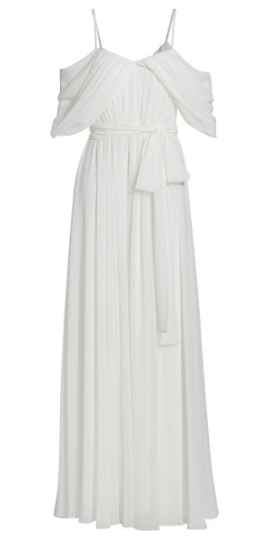 Badgley Mischka georgette draped gown in ivory