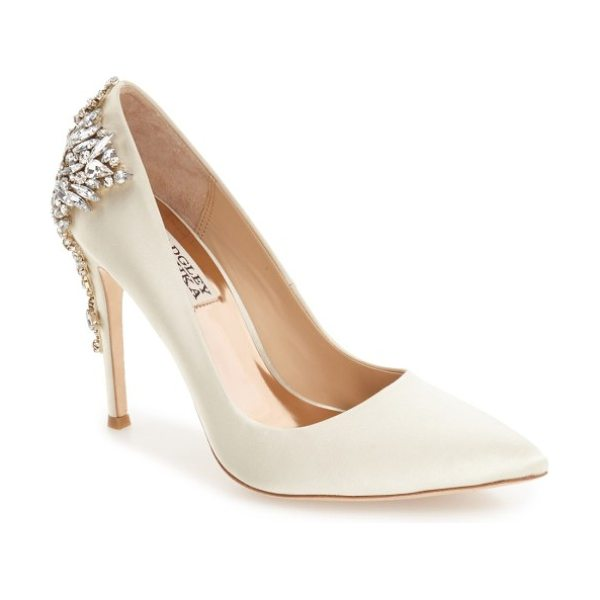 Badgley Mischka Collection gorgeous crystal embellished pointed toe pump in ivory satin
