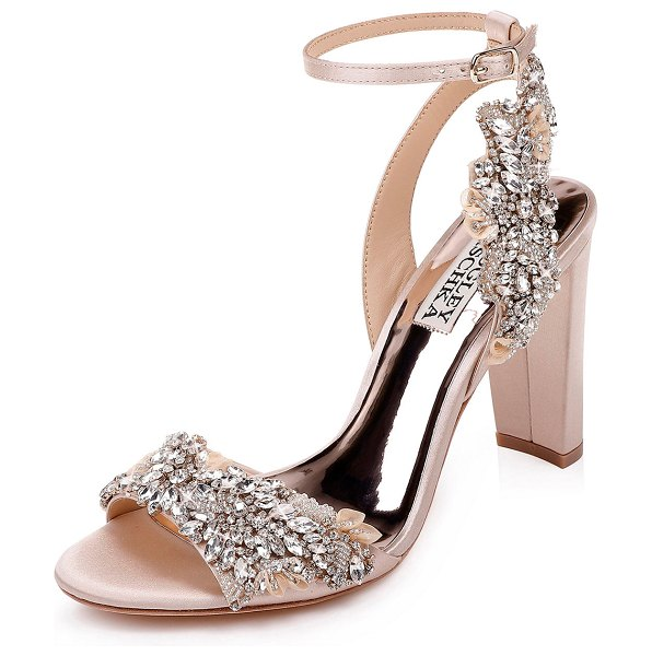 Badgley Mischka Libby Embellished Ankle-Wrap Sandals in nude