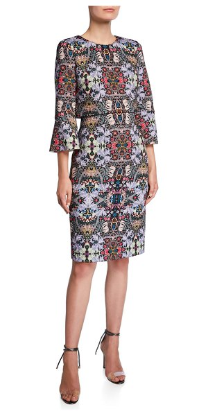 Badgley Mischka Printed Trumpet-Sleeve Day Dress in black pattern