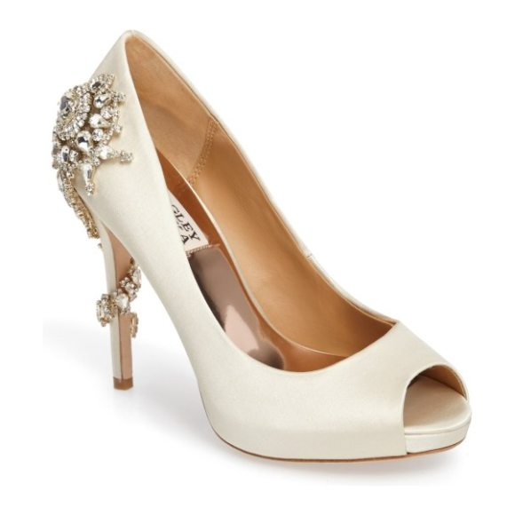 Badgley Mischka Collection badgley mischka 'royal' crystal embellished peeptoe pump in ivory satin