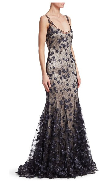Badgley Mischka slip lace gown in navy - Embellishing adds elegance to gorgeous lace gown Scoop...