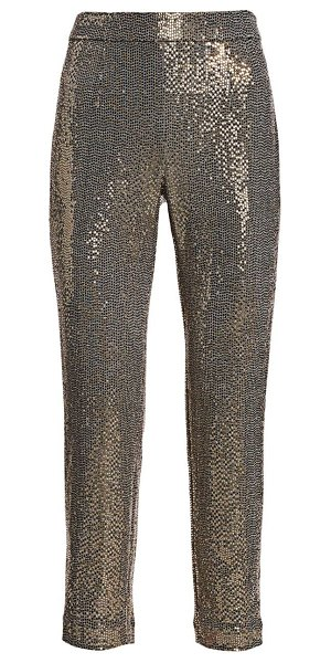 Badgley Mischka stretch sequin slim ankle pants in gold