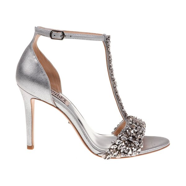 Badgley Mischka Veil II Metallic Leather Ankle-Strap Sandals in silver