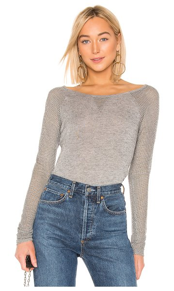Bailey 44 Skeleton Crew Sweater in gray - Cotton blend. Perforated contrast fabric detail....