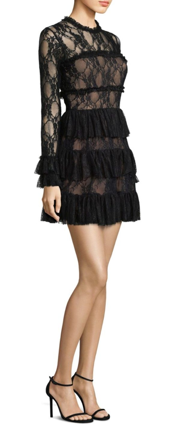 Bailey 44 Tiered Lace Dress In Black Shopstasy