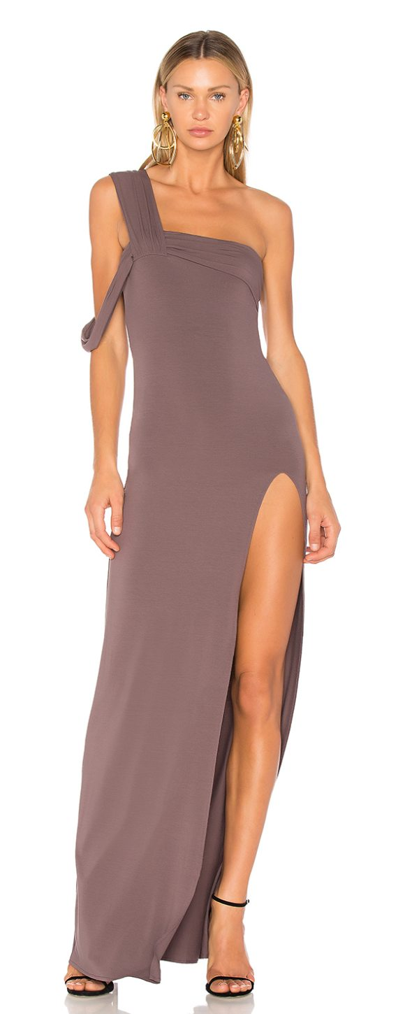 0d52e3b0531 Baja East One Shoulder Maxi Dress in Gray | Shopstasy