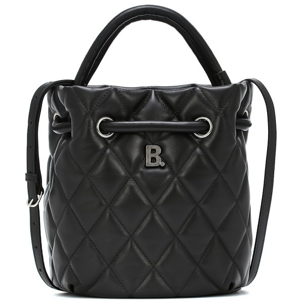 Balenciaga b small quilted-leather bucket bag in black