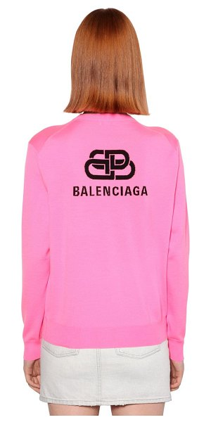 Balenciaga Back logo wool knit crewneck sweater in fuchsia,black