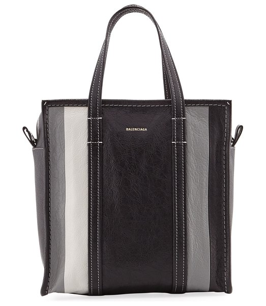 "Balenciaga Bazar Shopper Small AJ Tote Bag in black/gray - Balenciaga ""Bazar Shopper"" tote bag in striped lamb..."