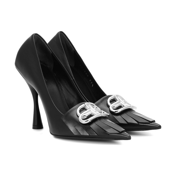 Balenciaga bb knife leather pumps in black