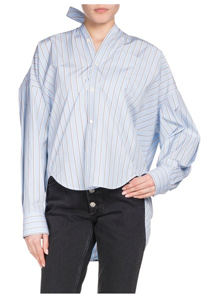 Balenciaga Button-Down Striped Cotton Swing Shirt with Logo & Tie Detail in blue