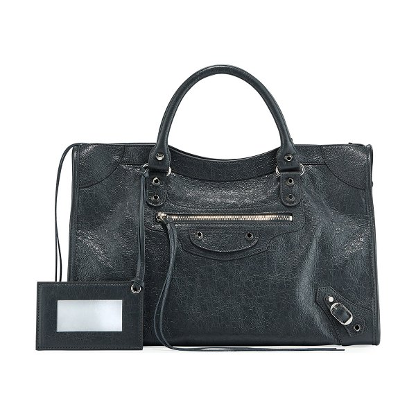 Balenciaga Classic City AJ Satchel Bag with Logo Strap in gray