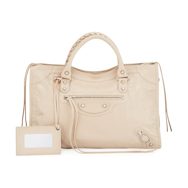 "Balenciaga Classic City Leather Tote Bag with Logo Strap in beige - Balenciaga ""Classic City"" lambskin bag with nickel..."