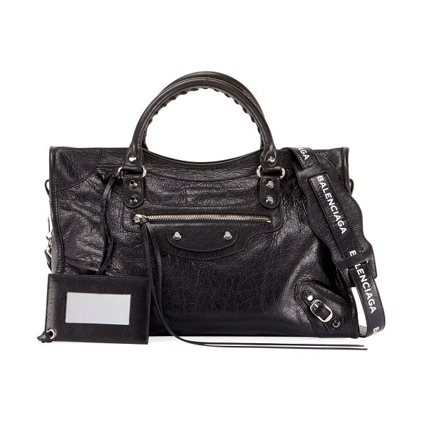 Balenciaga Classic City Leather Tote Bag with Logo Strap in black/white