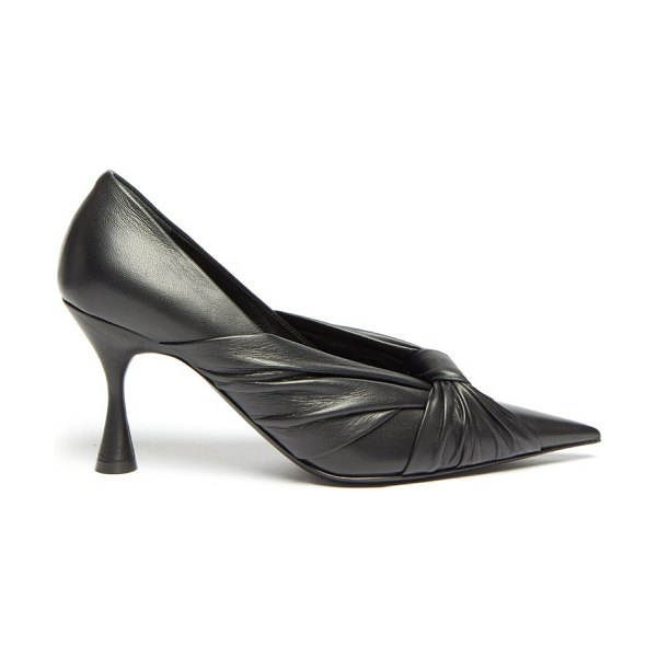 Balenciaga drapy pointed wrapped-leather pumps in black