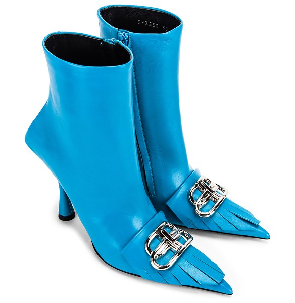 Balenciaga fringe knife booties in turquoise & silver