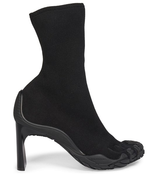Balenciaga high toe curved heel ankle boots in black,beige